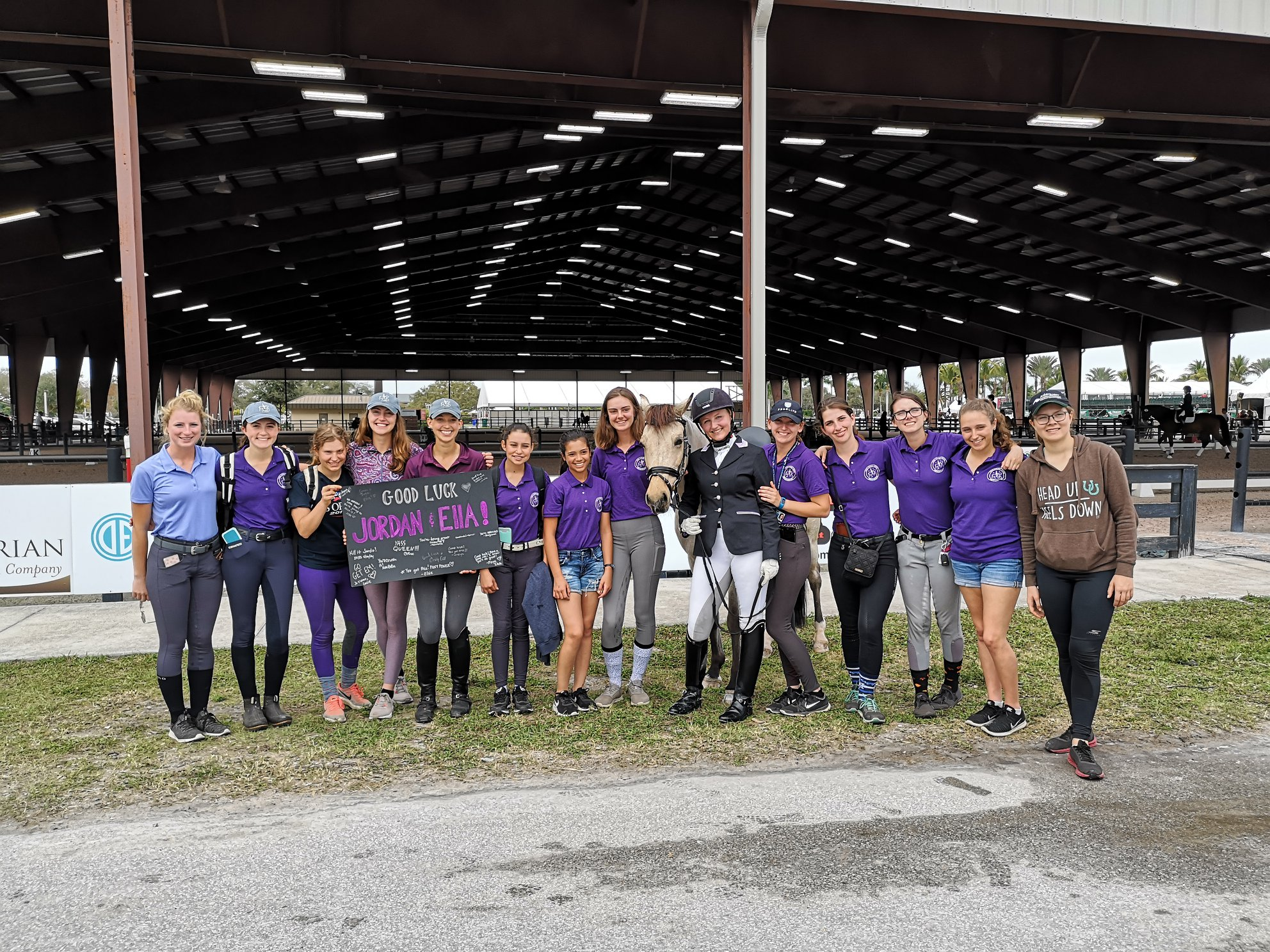 Emily Gill and Dressage students at horse show
